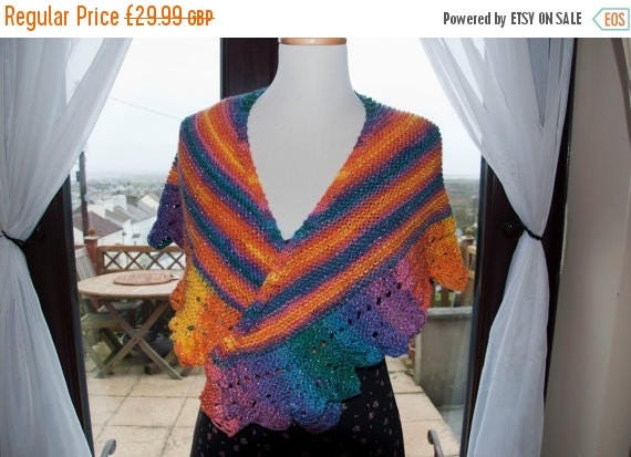 Christmas In July Handknitted Shawl/Shawlette in Glittery/Sparkly Shades of Orange, Purple and Blue