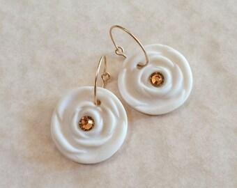 Translucent Porcelain Rose Earrings with Champagne Toned Swarovski Crystals-Unglazed Porcelain Earrings-Porcelain Rose Earrings-White Roses