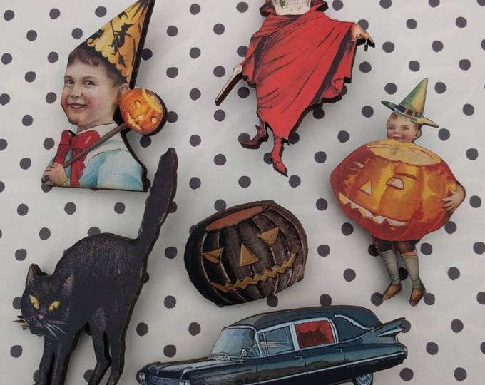 6 x Halloween Wooden Brooches - Cat, Pumpkin, Devil (H1)