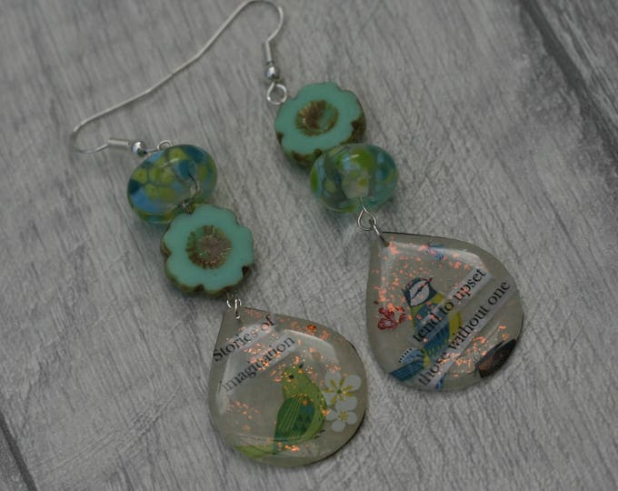 Statement Earrings, Quote Earrings, Lampwork Bead and Inspirational Earrings, Bird Earrings