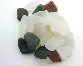 Cornish sea glass, English beach glass, Surf tumbled glass, eco craft supply, jewelry making supplies, 30 frosted pieces, UK collector