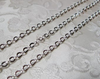 SALE Bright Silver Plated Flat Link Cross Link Chain Nickel Free 3.5mm x4mm 391