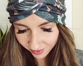 Boho Floral Head Wrap, Peacock Print, Feather Head Wrap, Women's Head Wrap, Knotted Headband, Stretch Hair Wrap, Hippie Headband, Boho Wrap