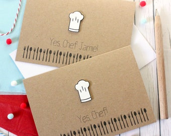 Personalised Chef Card. Handmade 'Yes, Chef!' Card. Card for Chef. Chef's Hat Card. Chef Hat. Bake Off. Masterchef. Cookery. New Job Card.
