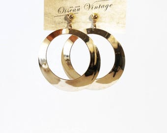 Vintage Oversized Gold Tone Hoop Stud Earrings