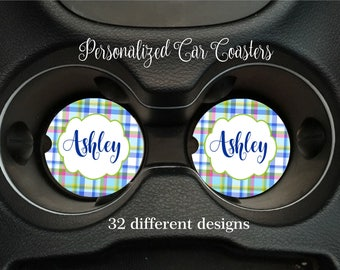 Set of Two Personalized Car Coaster Monogrammed Car Coaster Personalized Gift