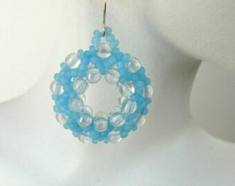 Aqua Blue Earrings, Light Blue Beaded Hoops, Beadwork Earrings, Pale Turquoise Jewelry, Beadwoven Hoop Earrings, Summer Jewelry