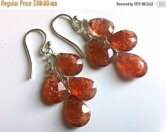 QUICKIE SALE 15% OFF, Sunstone Boho Cascade Earrings, read item description please