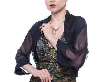 Promo Sale: Dark Navy Silk Chiffon Formal Bolero Jacket FIRST LADY/ Sizes XS - 4X