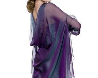 Promo Sale: Purple - Teal Evening  Silk Chiffon Stole/ Wrap/ Shawl with semi-sleeves