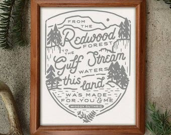 This Land 8 x 10 Screen Printed Home Decor Hand Lettered Art