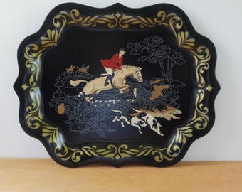 Vintage Paint By Numbers Metal Serving Tray • Uncompleted Hunt Scene Tray  • Metal Serving Tray Partially Done Paint By Numbers