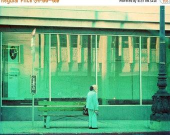 SALE Los Angeles photography, LA photograph, go metro, Beverly Hills California vintage blue mint green retro bus stop, urban loft decor