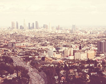 Los Angeles photography, LA decor, Los Angelenos. urban cityscape skyline pale neutral peach California wall art downtown, Hollywood
