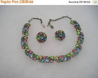 ON SALE Pretty Vintage Lisner Multi Colored Rhinestone Choker Necklace & Earrings Demi Set