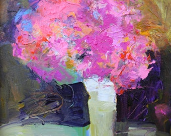 """FLORAL ABSTRACT PAINTING """"Teatime"""" Acrylic on paper, unframed Original Art by Elizabeth Chapman"""