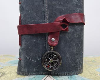 Blue Leather Travel Journal with Compass