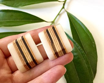 Geometric Wood Stud Earrings