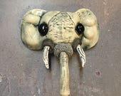 Ceramic elephant mask, wall hanging, faux taxidermy
