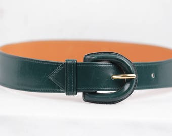 HERMES PARIS Vintage Green Leather BELT Leather Buckle Small Size