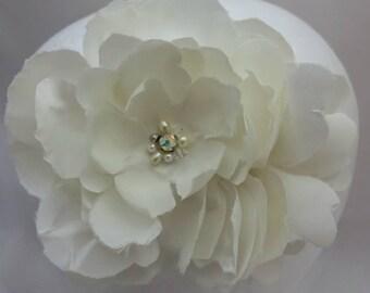 Ivory Bridal Hair Flower - Bridal Hair Clip- Bridal Head Piece - Bridal Fascinator - Bridal Flower Hairclip - Peony Flower Handmade