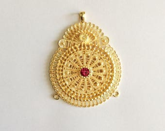 1pc- Matte Gold Plated Authentic Flower Pendant with colorful swarovski -70x55mm-(001-041)