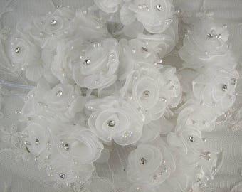18 Chic Light Ivory Organza Ribbon Wired Rose Flower w rhinestone Christmas Holiday Bridal Wedding Favor Bow Hair Accessory Applique