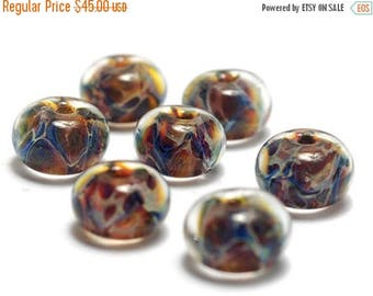 ON SALE 35% OFF Handmade Glass Lampwork Bead Set - Six Multi-color w/Blue & Red Rondelle Beads 10902601