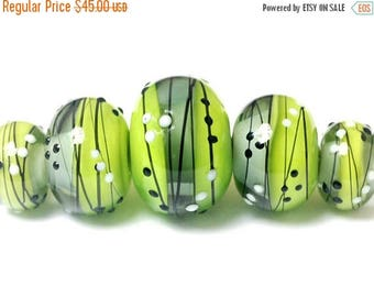 ON SALE 35% OFF Five May Day Party Graduated Rondelle Beads - Handmade Glass Lampwork Bead Set 10506911