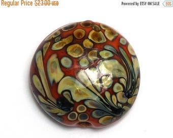 ON SALE 35% OFF Coral w/Beige Lentil Focal Bead - Silver - Handmade Glass Lampwork Bead 11811702