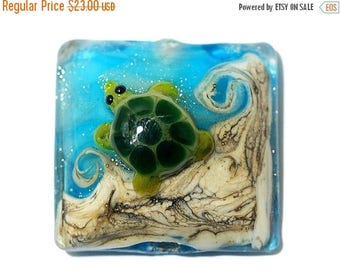 ON SALE 35% OFF Turtle Cove Pillow Focal 11834704 - Handmade Glass Lampwork Bead