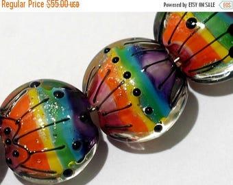 ON SALE 30% off 11008202 Seven Rainbow Balloons Lentil Beads - Handmade Glass Lampwork Bead Set