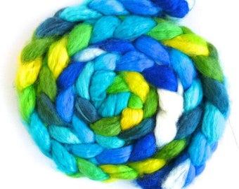 Superwash BFL Wool Roving - Hand Painted Spinning or Felting Fiber, Spring Persuasion