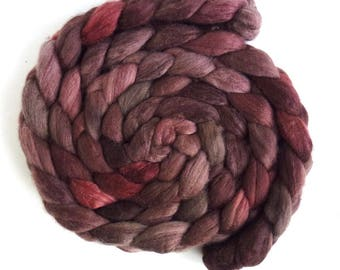 Polwarth/Silk Roving - Handpainted Spinning or Felting Fiber, Rust Shadows