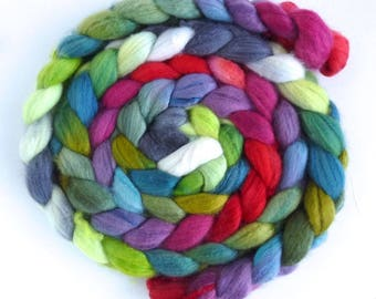Organic Polwarth/Cultivated Silk Roving - Handpainted Spinning or Felting Fiber, Camellia Forest