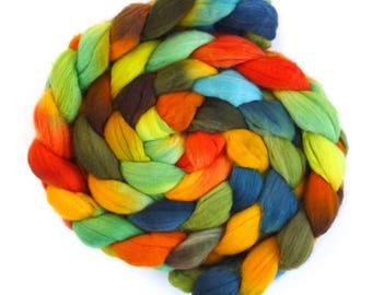 Far Eastern Sun, Rambouillet Wool Roving - Hand Painted Spinning or Felting Fiber