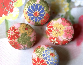 "Handmade Large Red Pink Gold Japanese Oriental Floral Flowers Fabric Covered Buttons, Japanese Fridge Magnets, 1.2"" 4's"