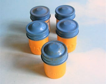 Vintage Film Canisters, Metal Kodak Film Tins, Yellow Blue Craft Supplies, Photography Memorabilia, Antique Metal Tins, Advertising