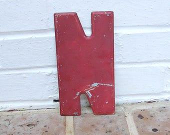 Vintage Metal Sign Metal Letter N Sign Chippy Painted Metal Letter N Old Rusty Letter N Antique Marquee Letter N
