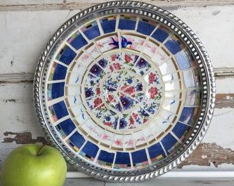 Vintage Broken China Mosaic Tray - Bluebird Hand painted Porcelain and Chintz - Deep Edge