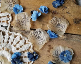Dusty blue wedding confetti, Flower Girl throw, Wedding Rose Petals, DIY wedding, flower tossing petals,table scatter, bridal shower decor