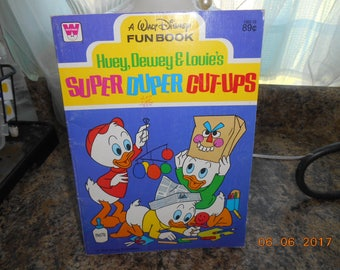 1978 A Walt Disney Fun Book Huey, Dewey and Louie's Super Duper Cut-Ups