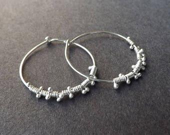 Silver Hoop Earrings, Wire Wrap Hoops, Simple Beaded Hoops Womens jewelry gift for her, handmade hoop earrings, silver hoops