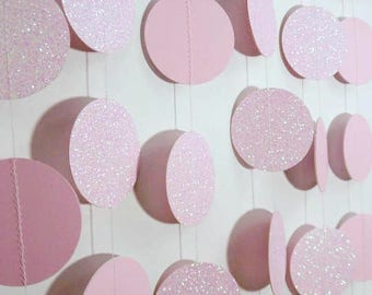 Pink Glitter Circle Garland, Paper Dot Garland, Baby Shower Decoration, Bridal Shower Decor