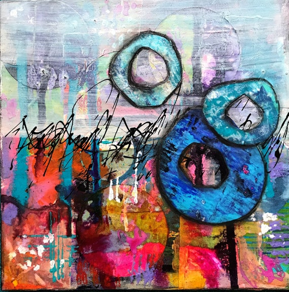 Colorful Abstract Canvas Vibrant Cheerful Mixed Media Canvas Panel