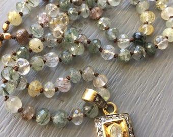 Diamond Pendant Necklace Rutilated Quartz Hand Knotted Gemstone Necklace