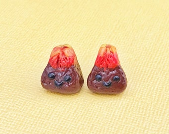 Volcano Earring Studs, Polymer Clay