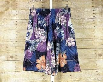 Vintage High Waist Purple Blue Hawaiian Print Shorts Misses S M Shannon Marie 80s