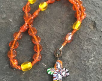 Orange and Yellow Glass Bead Anglican Rosary  Protestant Prayer Beads. Episcopal Rosary. Episcopal Rosary   Millifiori Cross