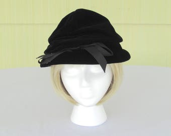 1950's vintage Christian Dior designer black velvet hat